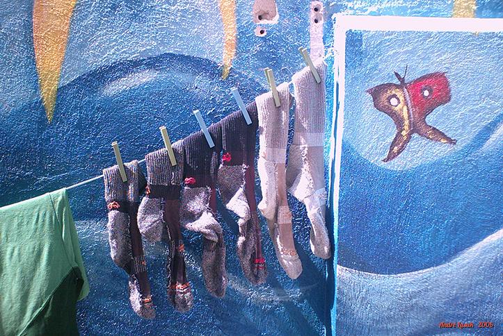 Minhas meias secando no albergue de Los Arcos