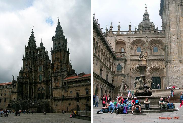 Catedral de Santiago vista da Praza do Obradoiro, e sua lateral direita, na Praza das Praterías